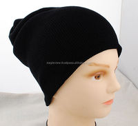 Black Unisex Men Women Solid Color Warm Cuff Plain Acrylic Knit Ski Beanie Skull Hat