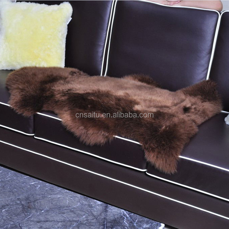 Natural Australian sheared sheepskin rug 100% brown original hide pelt skin