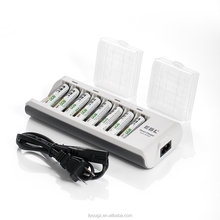 EBL 808 Rapid 8 Bay Smart AA AAA Battery Charger with 8pcs 800mah AAA Ni-MH Rechargeable Batteries