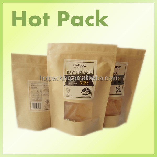 custom beef jerky kraft paper packaging bags for 500g / baguette bags with custom design