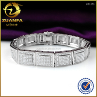 Custom Design 14k White Gold Finish Lab Diamond Hip Hop Mens Link Bracelet