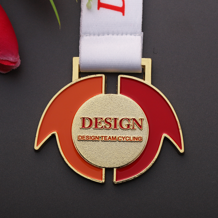 Cheap Custom Metal Soft Enamel  Bicycle Cycling Race Sport Medal With Ribbon