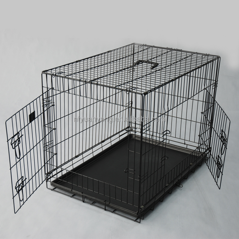Double doors folding dog cage with floor China manufacturer