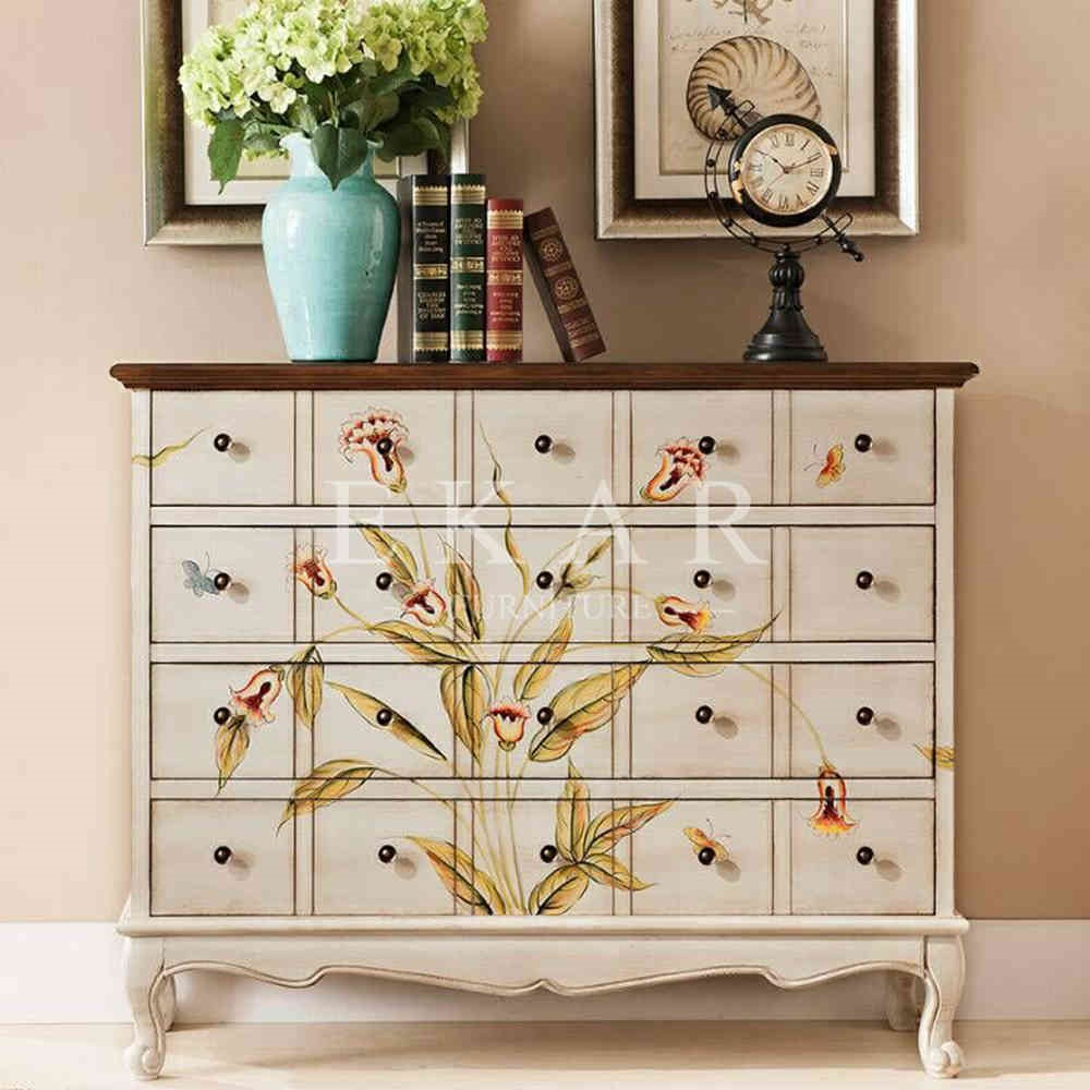 Shenzhen mid century modern furniture hand painted flower pattern many small wood cabinet with drawers