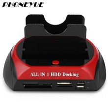 All in One HDD Docking Station with Multi Card Reader Slot for HDD Enclosure 2.5/3.5 inch SATA/IDE Hard Drive Docking Station