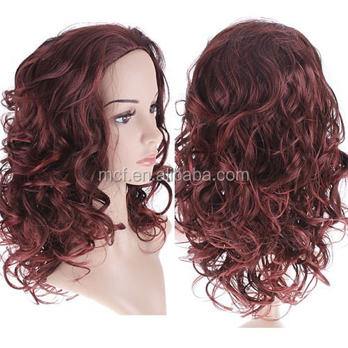 FW-0017 Wholesale daily Adult long brown curly natural synthetic fashion girls hair wig