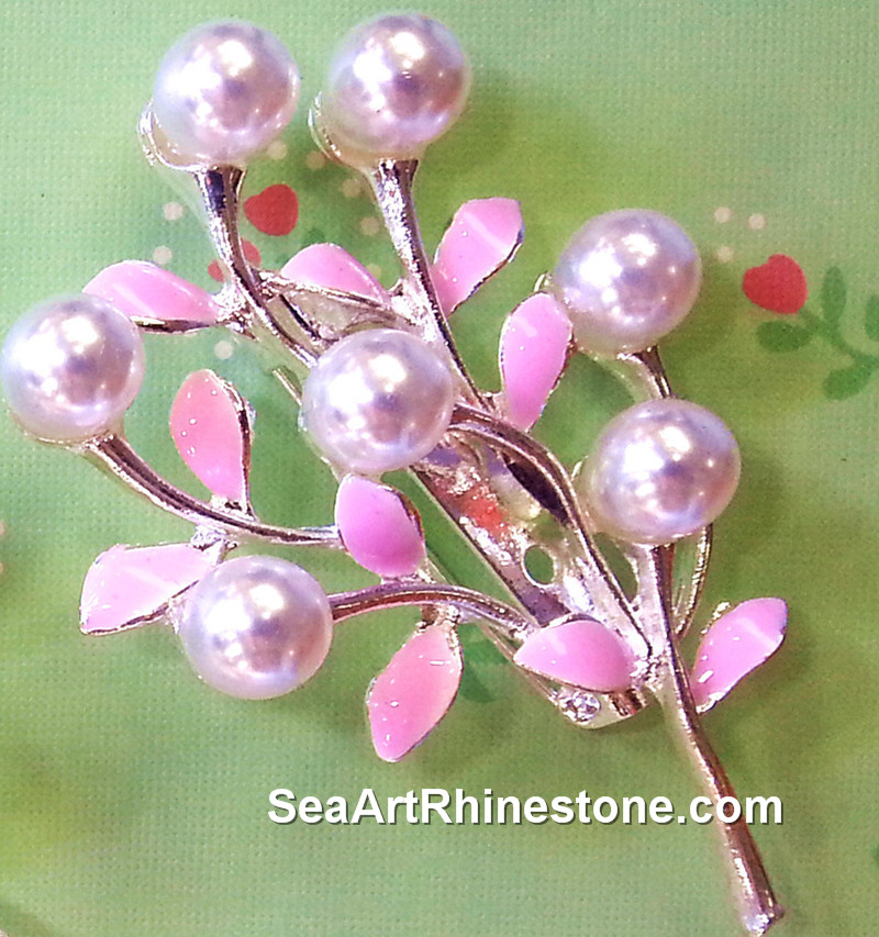 2016 flower shape brooch Wholesale pearl & rhinestone