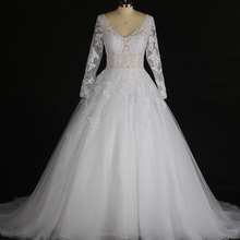 Sexy Design Wedding Dresses See Through Corsets Long Sleeve Crystal Lace Appliques Bridal Gown Western 2018