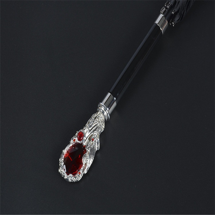 Female favors crystal decorative ruby rod handle strong deluxe umbrella,straight luxury umbrella