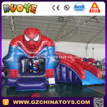 spiderman inflatable bouncer slide combo bouncing castle with slide