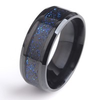 Blue Black Dragon Stainless Steel Ring, Silver UP mark inlaid Ring Jewelry