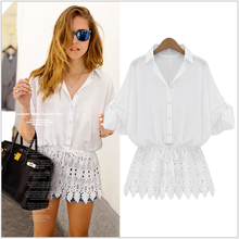 S31300A Latest fashion blouse design lapel lace joining waisted ladies modern blouse