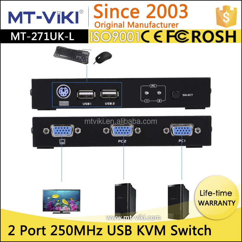2 port PS2/USB KVM vga switch support resolution 1920*1440 with cable for dvr or online games
