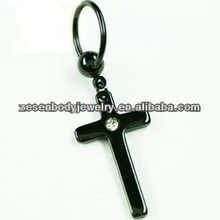 Black titanium plated BCR dangle cross fashion eyebrow ring lip body piercing jewelry