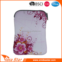 Portable fashion flower printed custom made neoprene bag for ipad mini