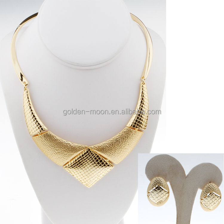 Chunky Bright Shiny Gold Chain Choker Collar Fashion Costume Jewelry Necklace Earring Set