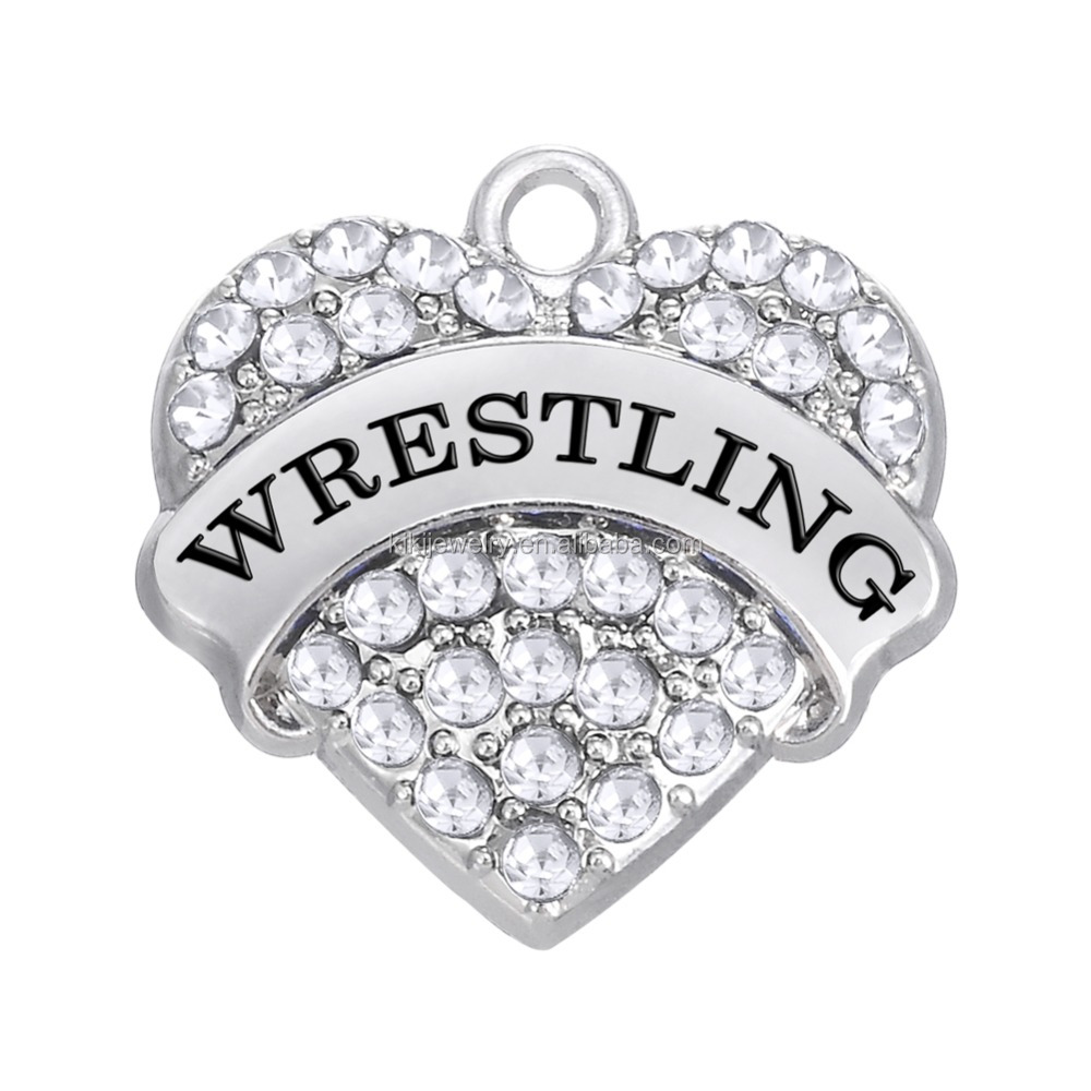 Trendy Zinc Alloy Silver Crystal Heart Engraved Wrestling DIY Jewelry Charms