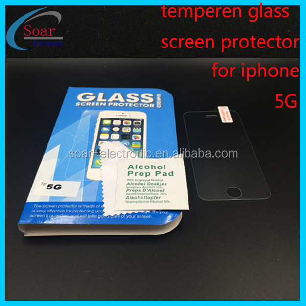 9H hardness,anti-scratch tempered glass screen protector for iphone 5G cell phone