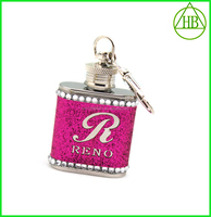 1oz stainless steel Red drill key chain mini stainless hip flask