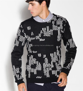 Winter Black Long Sleeve Classic Jacquard Jumper Knitted Men Sweaters