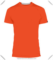 95% Cotton 5% Elatane Mens Performance T Shirt Wholesale Orange Plain Raglan Sleeve T shirts Slim Fit Sports T-shirt OEM