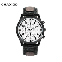ChaXiGo Stainless Steel Japan Movement DIY Leather Watch Fashion Vogue Chronograph Watch