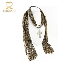 Fashion women Print Leopard Wholesale Scarf Pendant Cross Necklace Jewelry decorative Scarf