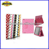 POLKA DOTS Premium Stand Leather Case Cover for New Apple iPad4/iPad3/iPad2 with Sleep wake----Laudtec