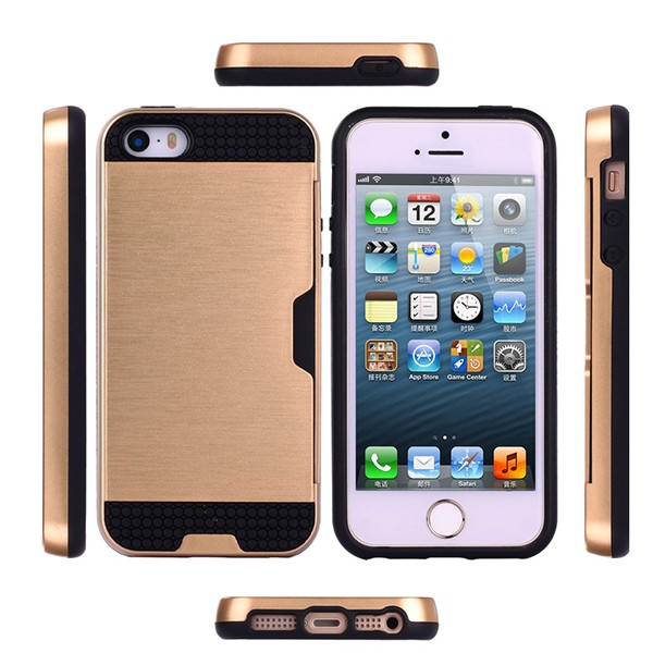 IP5026 Mobile Phone Card Holder Hybrid Case Cover for iPhone 5S , Wire-Drawing PC TPU Case for iPhone 5S