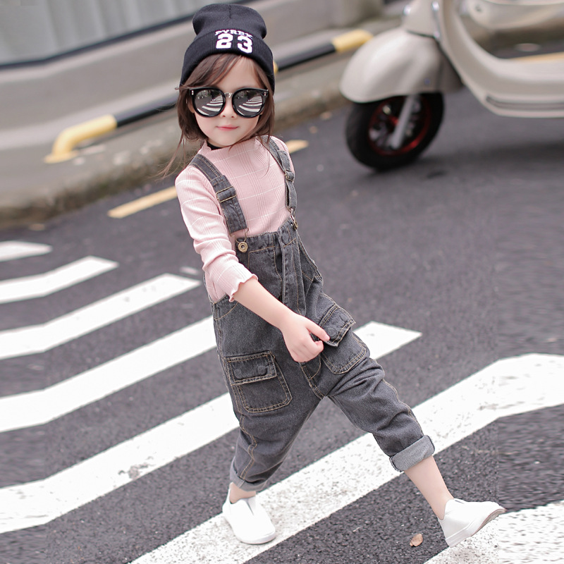 MS83214M fashion girls overall jeans kids korean style denim suspenders