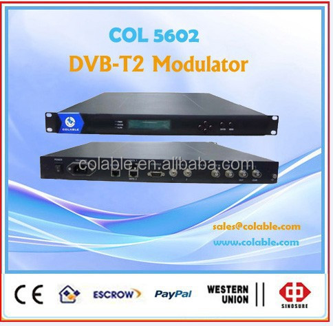 Digital TV Headend Single channel RF output DVB-T2 Modulator with 2 ASI COL5602