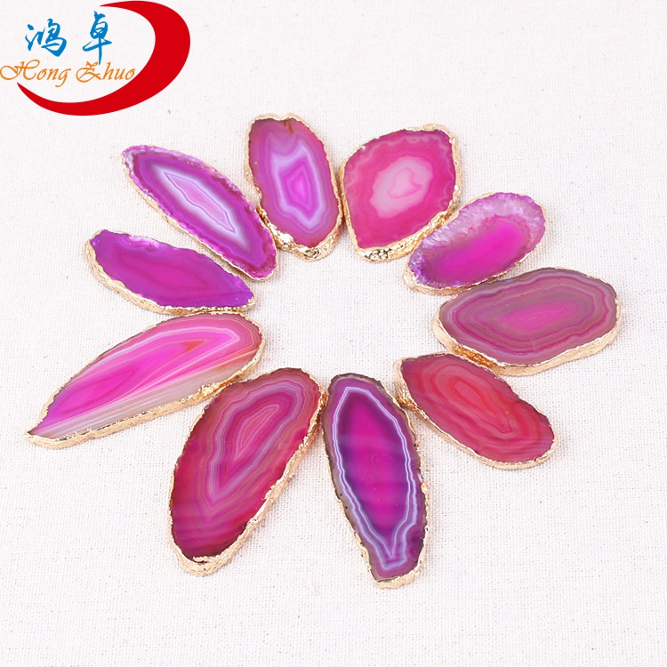 Wholesale agate pendant gold plating earrings big slice