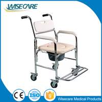 Handicapped equipment! Aluminum Mobile Toilet Commode chair with padded seat and wheels