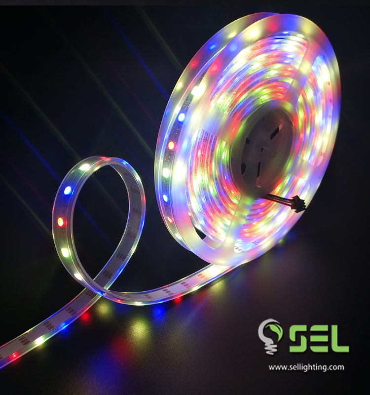 CE Rohs Digital dream color led strip WS2812B SMD5050 RGB color mixing and controlling system