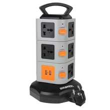 IN STOCK Brand HAWEEL Electrical Socket with 11 EU Outlets and 2 Ports 2.1A USB Sockets, Overload Protector