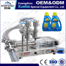 SFGY-60-2 full pneumatic double head semi automatic laundry detergent bottle filling machine