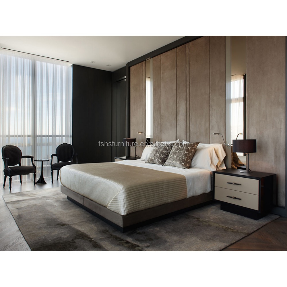 Modern bedroom plywood double bed designs hotel bedroom furniture
