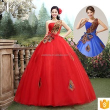 Red Lace Appliqued Strapless Floor Length Tulle Puffy Ball Gown Wedding Dress