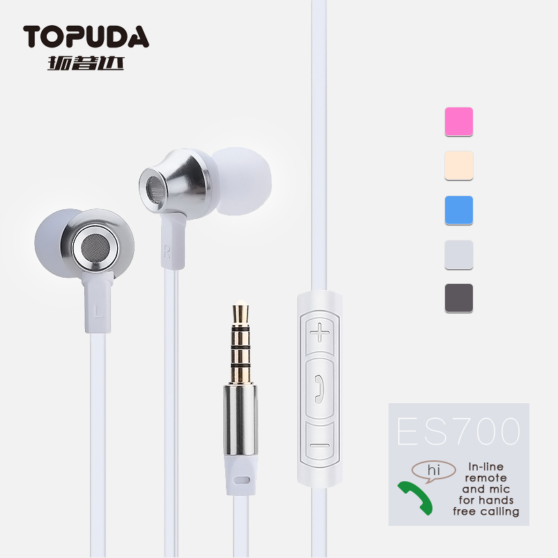 Universal 3.5mm plug best sound flat cable earphone with mic