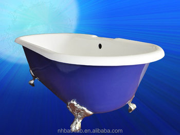 Blue Traditional Double ended bath tub with imperial feet