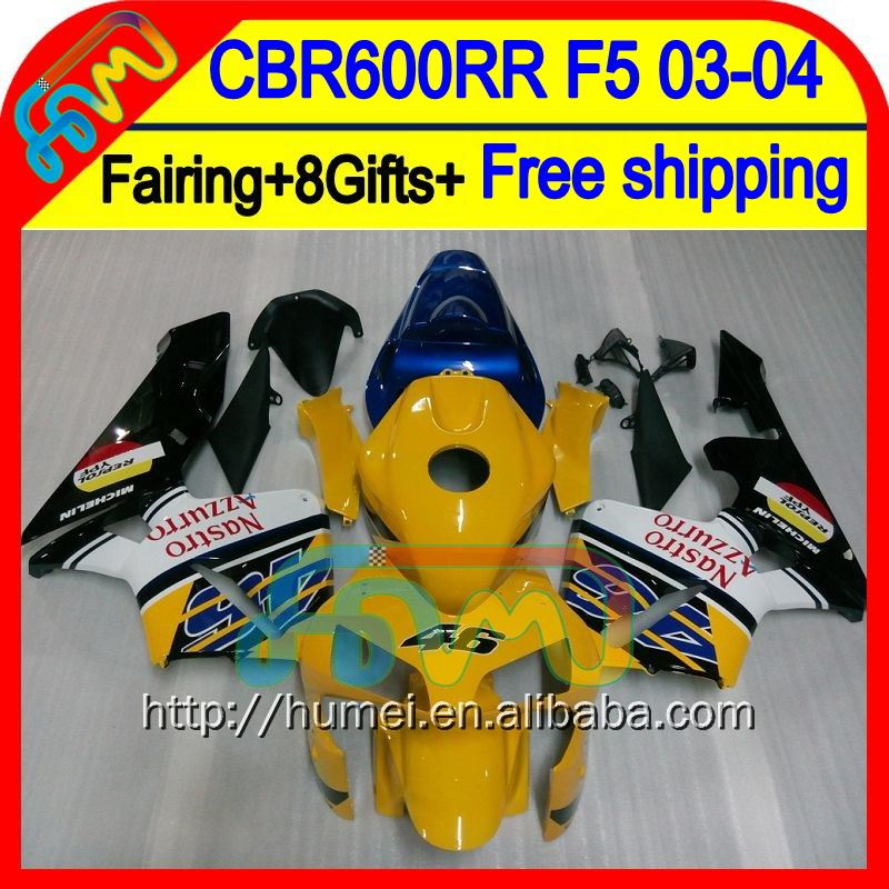 8Gifts Injection Yellow white For HONDA CBR 600RR 600 RR 03 04 50HM55 CBR600 RR F5 CBR600RR 2003 2004 Yellow blk 03-04 Fairing