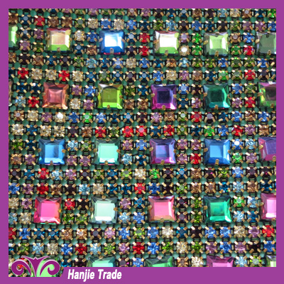 Colorful Diamond Sheet Rhinestone Mesh For Garment