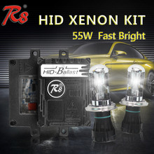 Innovative design R8 55W Fast bright hid ballast repair kit anti-interference with bi xenon H4-3 bulbs hid xenon light 6000K