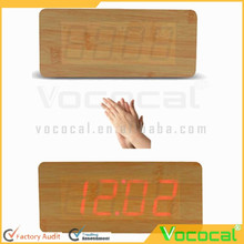 Imitation Wood LED Red Light Digital Cuboid Cube Voice Control Alarm Clock with Time Date Temperature Display