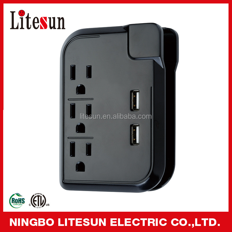 UL ETL 3 outlet current tap with 2 USB port new products surge protector ningbo litesun electric outlet USB adapter