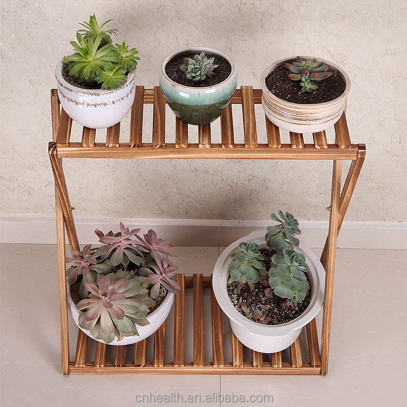 Wooden plant pot rack flower pot stand for garden and room