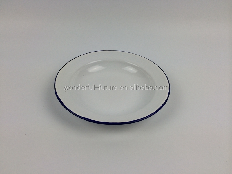 white colour carbon steel enamel metal dishes ,sushi dish