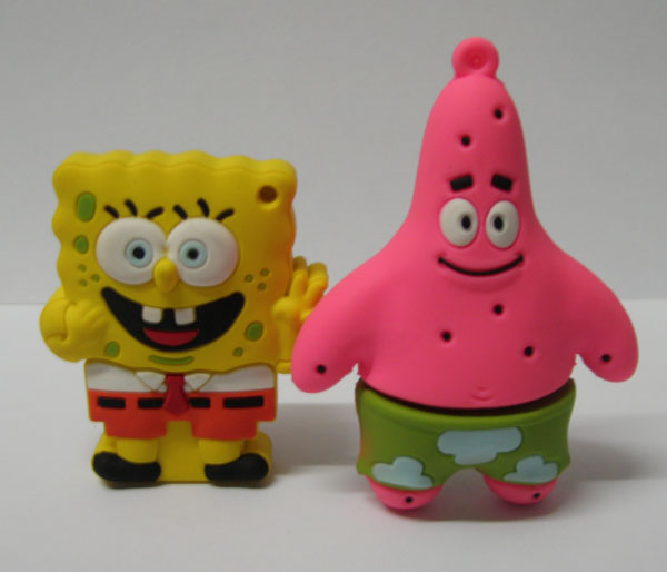 Cartoon Spongbob UV Color Changing Silicone Rubber USB Flash Cover/ Drive/Disk