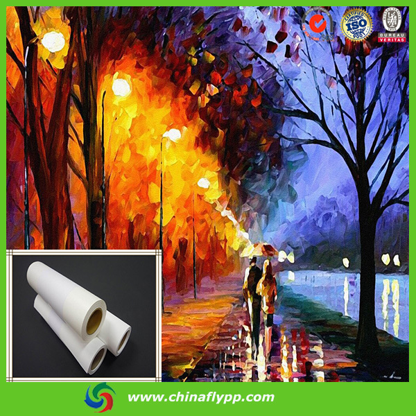 FLY china glossy waterproof polyester oil painting fabric canvas for UV machine