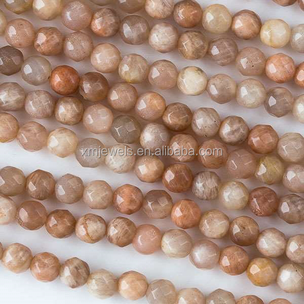 Natural gemstone moonstone peach round faceted moonstone beads